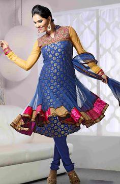 Item Code : KSV1D2224 - Light Blue Viscose #Churidar Anarkali Suit with Dupatta | website: www.sareegalaxy.com