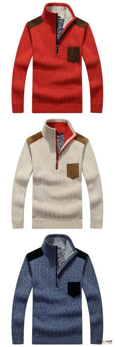 US$41.26 + Free shipping. Size: XS~XL. Color: Beige, Blue, Red, Light Grey, Dark Grey. Fall in love with casual and outdoor style! Men's Casual Business Zipper Stand Collar Wool Sweaters Patchwork Contrast Color Warm Pullover. #sweaters #men #outfit