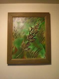 """:Leaves"""" oil & multi media for jo. framed $250"""