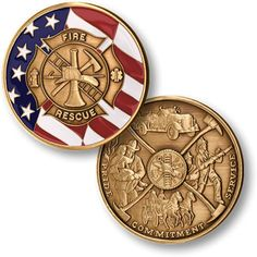 NEW Maltese Cross with Flag, Patriotic Fire Fighter Coin Product Type: Coin Size: 1 1/2 inch (39mm) Round Material: MerlinGold® Proof-like with Enamel In every community across America, fire fighters