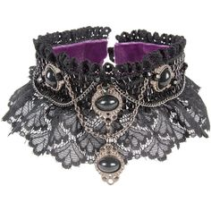 Velvet Eccentric - Gothic Goddess ($450) ❤ liked on Polyvore featuring jewelry, necklaces, choker, chain choker necklace, chains jewelry, gothic jewellery, chain necklaces and gothic choker necklace