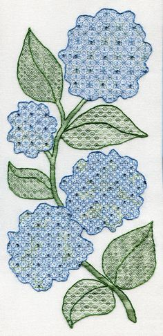 Pattern for sale. Beaded hydrangea black work. Blackwork Collection
