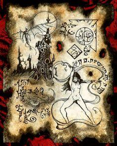 WITCH OF KADATH Necronomicon page occult demon magick dark spirit vampire horror