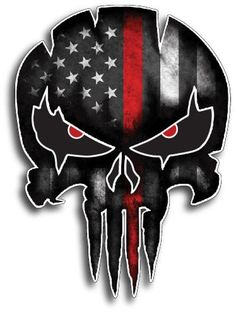 Thin RED LINE Punisher Skull Fireman Firefighter American Flag Vinyl Decal Sticker Car Truck Sniper Marines Army Navy Military Jeep Graphic Punisher Skull Decal, Firefighter Decals, Firefighter Quotes, Skull Artwork, Skull Drawings, Skull Pictures, Skull Wallpaper, Black And White Aesthetic, Arte Horror