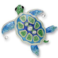 Pearly Sea Turtle Pin | Enamel Turtle Pin | Zarah Jewelry