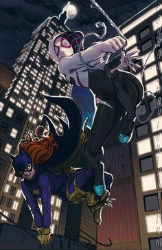 Batgirl and Spider-Gwen by Royce Sutherland *