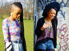 I like the outfit on the right. She rocking that purple shirt and them long braids fire  zizi-blue-