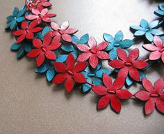 leather flowers...very cute.