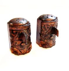 Vintage Copper Salt and Pepper Shakers, Native American