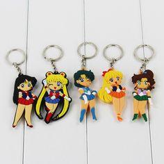 5pcs/ Sailor Moon Keychians - Sailor Moon, Sailor Mercury, Sailor Mars, Sailor Jupiter and Sailor Venus