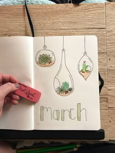 March bullet journal succulent #succulent #succulentbulletjournal #marchbulletjournal #bulletjournal