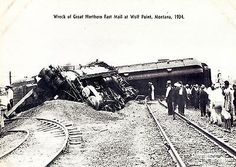 Postcard Train Wreck Fast Mail Train on The Great Northern Line Wolf Point MT 34 | eBay