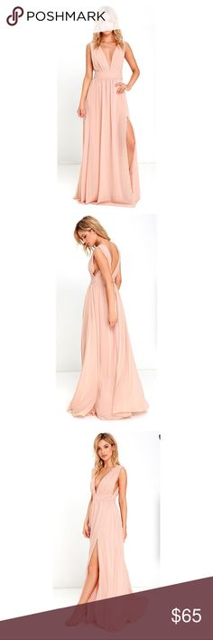 Lulus Plunging V-Neck Chiffon Gown You'll be goddess-like for the entire evening in the Heavenly Hues Blush Maxi Dress! Georgette fabric drapes alongside a V-neck and back, and lays across a banded waist. Full maxi skirt has a sexy side slit. Hidden back zipper with clasp. Lulu's Dresses Maxi