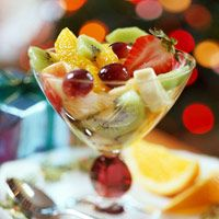 Ginger Fruit Compote with delicious dressing: boil 1 1/2 c water, 1 c sugar, 3 tbl lemon juice, 2 tbl snipped crystallized ginger; simmer 5 mins; chill several hrs.