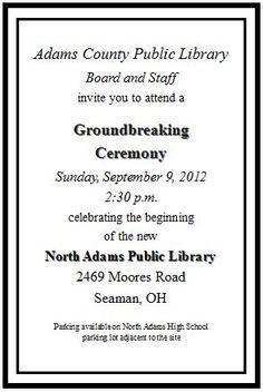 Dedication Invitation | Groundbreaking Ceremony | Pinterest ...