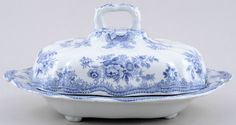 covered dish c1880 Doulton Blue And White China, Blue China, Love Blue, Blue Dishes, White Dishes, China Patterns, Pheasant, Vintage China, Vegetable Dishes