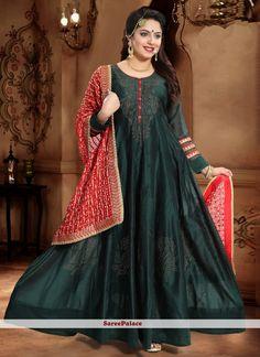 Teal Designer Gown Silk Anarkali Suits, Long Anarkali, Abaya Fashion, Fashion Pants, Readymade Salwar Kameez, Teal Green, Dark Teal, Gowns Online, Designer Gowns
