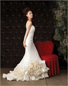 dramatic lovely big white floral dress. Makes a gorgeous silhouette.