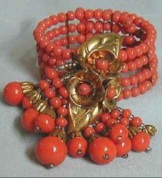 Vintage Miriam Haskell Coral Jewelry