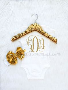 Baby Girl Clothes, baby monogrammed gifts, shirt, bodysuit, coming home outfit, take home outfit, gold metallic bow headband, trendy baby by LittlePinkPumpkin on Etsy