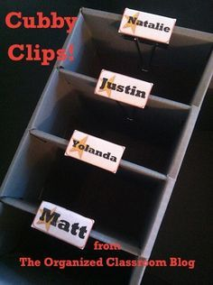Teaching Blog Addict: Cubby Label Solution! - Use binder clips to make cubby clips and stick a label on the end.