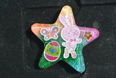 Easter,Sparkly Star, Key Chain, Ornament, Paper weight, star, Bunny, Easter Bunny, Resin, Charm, Creepy Cute, Star, Sparkly, Orange