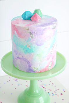 Pastel watercolor cake