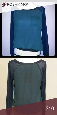 Light weight blouse! Hunter green colored torso and navy blue sleeves - with trim that is a jersey type material! Super comfy and can be dressed up or go casual! 100% Polyester Xhilaration Tops Blouses