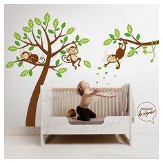 Muursticker 3 aapjes hangend in boom bevat:- Boom, tak, aapje lijfje ( kies 1 kleur),- 3 aapjes gezicht