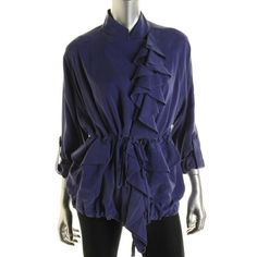 Catherine Malandrino Womens Silk Ruffled Jacket