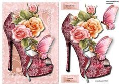 Lace Shoes Glowing Roses on Craftsuprint designed by Marijke Kok - Beautiful lace shoes and glowing roses....gorgeous!! - Now available for download!