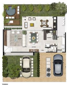 Dream House Plans, House Floor Plans, Casas The Sims Freeplay, Small Villa, Classic House Exterior, Narrow House, Home Pictures, Architecture Plan, House Layouts