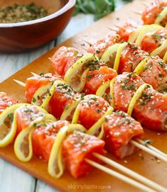 Grilled Salmon Kebabs | Low Fat, Tasty And Healthy Recipe Perfect This Weekend by Homemade Recipes at http://homemaderecipes.com/healthy/dinner/best-fish-recipes/