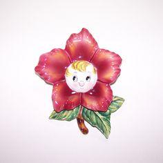 Vintage PY Anthropomorphic Red Rose Wall Pocket