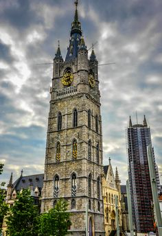 Belfry of Ghent and Saint Bavo Cathedral - Ghent Belgium Ghent Belgium, Renaissance Architecture, Great Vacations, Medieval Town, City Photography, Place Of Worship, European Travel, Vacation Destinations, Temples