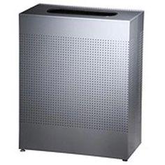 Rubbermaid® Silhouette SR18E Rectangular Open Top Can w/Liner, 22-1/2 Gallon - Silver Metallic