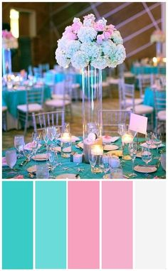 reference color palette for tiffany blue, baby pink and silver / white . Tiffany Rose, Tiffany White, Wedding Color Schemes, Wedding Colors, Wedding Centerpieces, Wedding Decorations, Pink Purple Wedding, Winter Wonderland Wedding, Paint Colors For Home