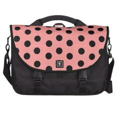 Wild About Polka Dots_Pink on Black_Personalized - Super-sized polka dots (black on pink & vice versa) lend a light-hearted happy look to this ultimate messenger bag and the customizable text fields on bottom for recipient's name seals the deal.See more w/ this image @ www.zazzle.com/icondoit+pink+polka+dots+gifts?rf=238155573613991097&tc=pnt #polkadotmessengerbags #pinkmessengerbags #retromessengerbags