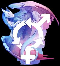 Bigender pride dragon! Bigender people feel that they are both/all genders at once. Credit to kaenith.tumblr.com