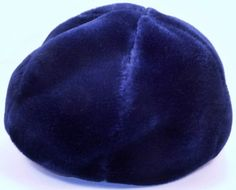 Vintage 60's United Hatters Cap & Millinery Works International Union Workers newsboy cabbie hat Faux Fur Leather trim Navy blue