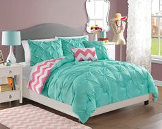 VCNY Chelsea 4-piece Reversible Polyester Comforter Set Twin Turquoise Bedding #VCNY