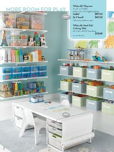 Great organization of kids art supplies & toys from the container store catalogue