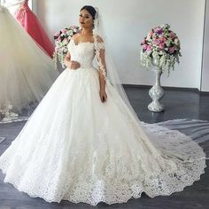 Off The Shoulder Lace Wedding Ball Gown Dresses 2017 Sexy