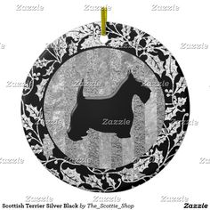 Scottish Terrier Silver Black Ceramic Ornament