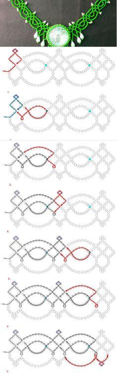 Free pattern for necklace Summer Day Kaboson nélkül is szép csipke nyaklánc lesz a mintából.