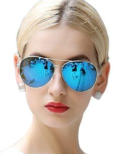 9ccd4437ccb ATTCL 2015 Classic Reflective Mirror Lens Aviator Polarized Sunglasses for  Women Men 10101 Blue  gt