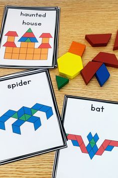 Halloween Pattern BlocksThese pattern block task cards and mats are a hands-on and fun way to practice math skills in a kindergarten classroom. These Halloween themed picture. Halloween Activities, Holiday Activities, Halloween Themes, Preschool Activities, Fall Preschool, Kindergarten Classroom, Halloween Patterns, First Grade Math, Grade 1