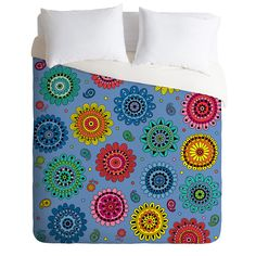 Andi Bird Flowers Of Desire Blue Duvet Cover | DENY Designs Home Accessories