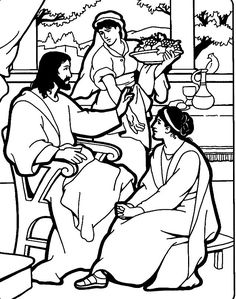 Jesus, Mary, and Martha. Bible coloring page
