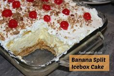 Banana Split Icebox Cake Recipe; Indescribably smooth and delicious. This is like no other Banana Split Icebox Cake you have had before! http://www.annsentitledlife.com/recipes/banana-split-icebox-cake-recipe/